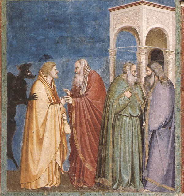 Giotto   Scrovegni    28    Judas Receiving Payment for his Betrayal